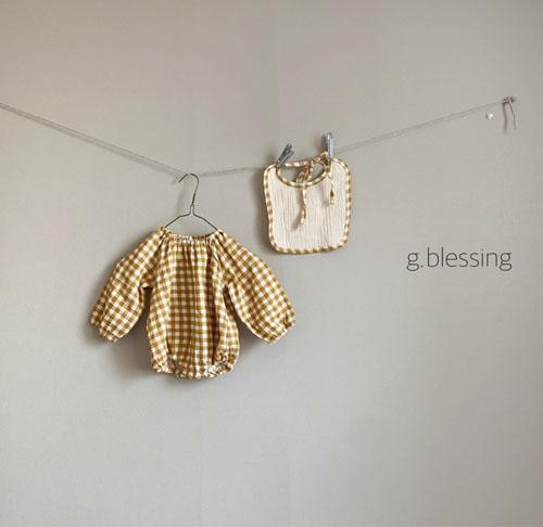 G BLESSING - Korean Children Fashion - #Kfashion4kids - Honey Check Bodysuit with Bib - 3