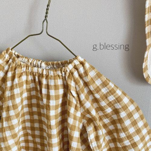 G BLESSING - Korean Children Fashion - #Kfashion4kids - Honey Check Bodysuit with Bib - 4
