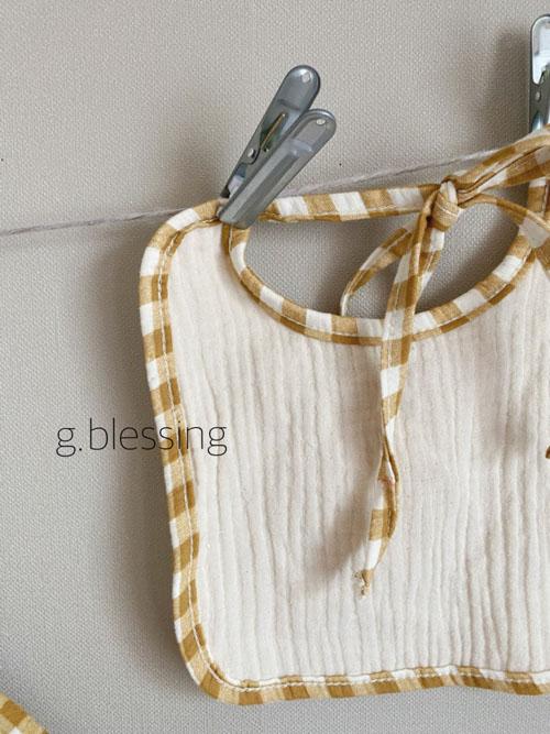 G BLESSING - Korean Children Fashion - #Kfashion4kids - Honey Check Bodysuit with Bib - 5