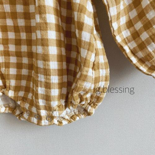 G BLESSING - Korean Children Fashion - #Kfashion4kids - Honey Check Bodysuit with Bib - 6