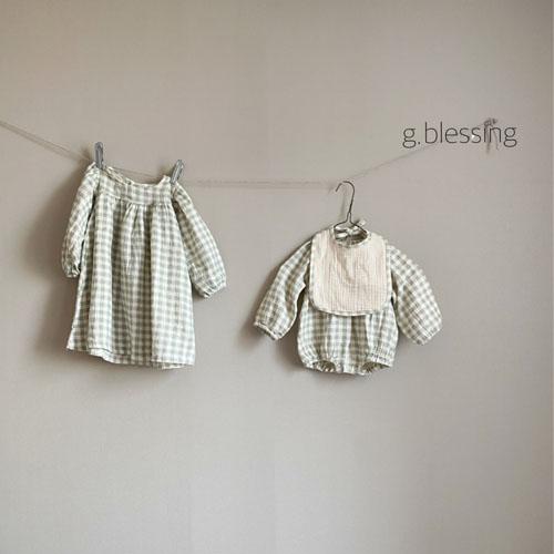 G BLESSING - Korean Children Fashion - #Kfashion4kids - Honey Check Bodysuit with Bib - 7