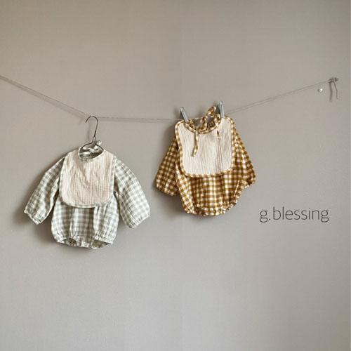 G BLESSING - BRAND - Korean Children Fashion - #Kfashion4kids - Honey Check Bodysuit with Bib