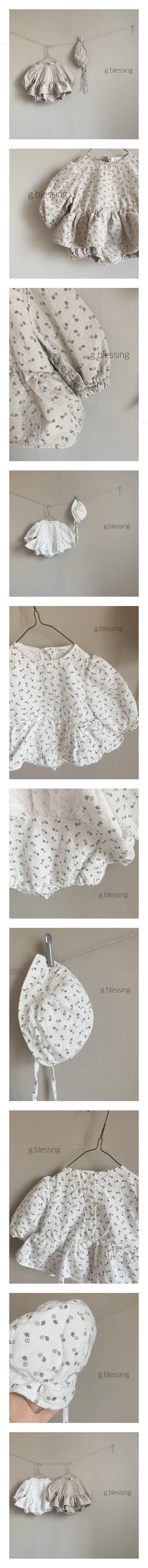 G BLESSING - Korean Children Fashion - #Kfashion4kids - Floral Bodysuit with Bonnet
