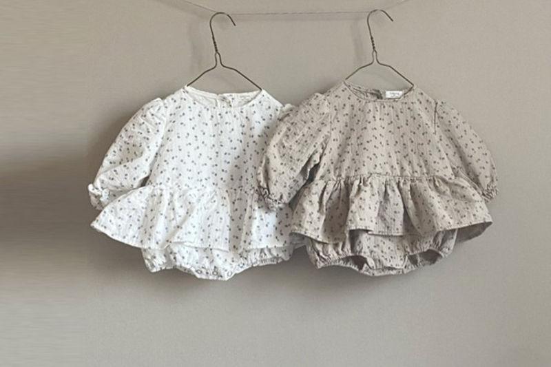 G BLESSING - BRAND - Korean Children Fashion - #Kfashion4kids - Floral Bodysuit with Bonnet