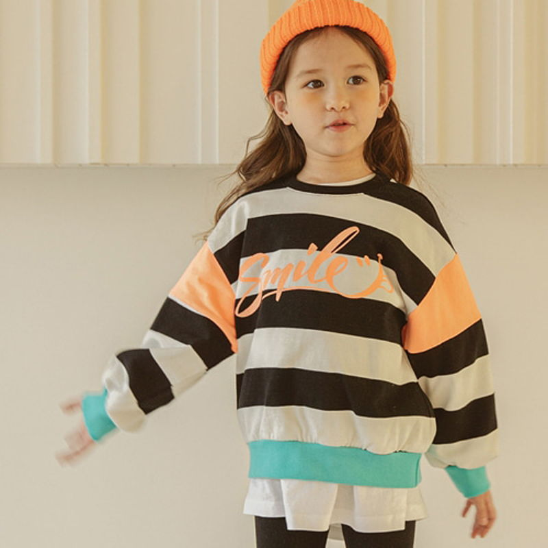 LILAS - BRAND - Korean Children Fashion - #Kfashion4kids - Smile Stripe MTM