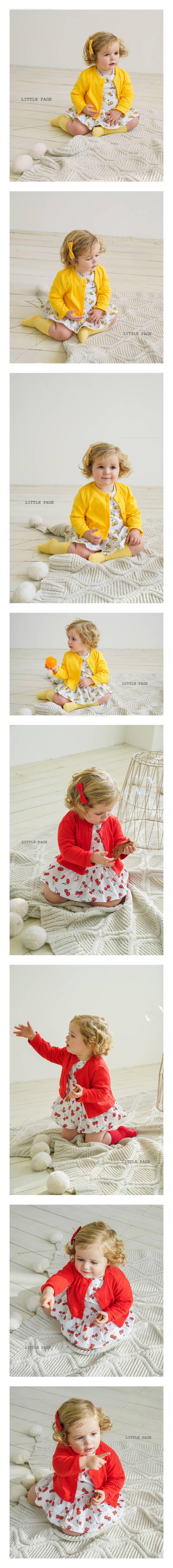 LITTLE PAGE - Korean Children Fashion - #Kfashion4kids - Print One-piece Bodysuit with Cardigan