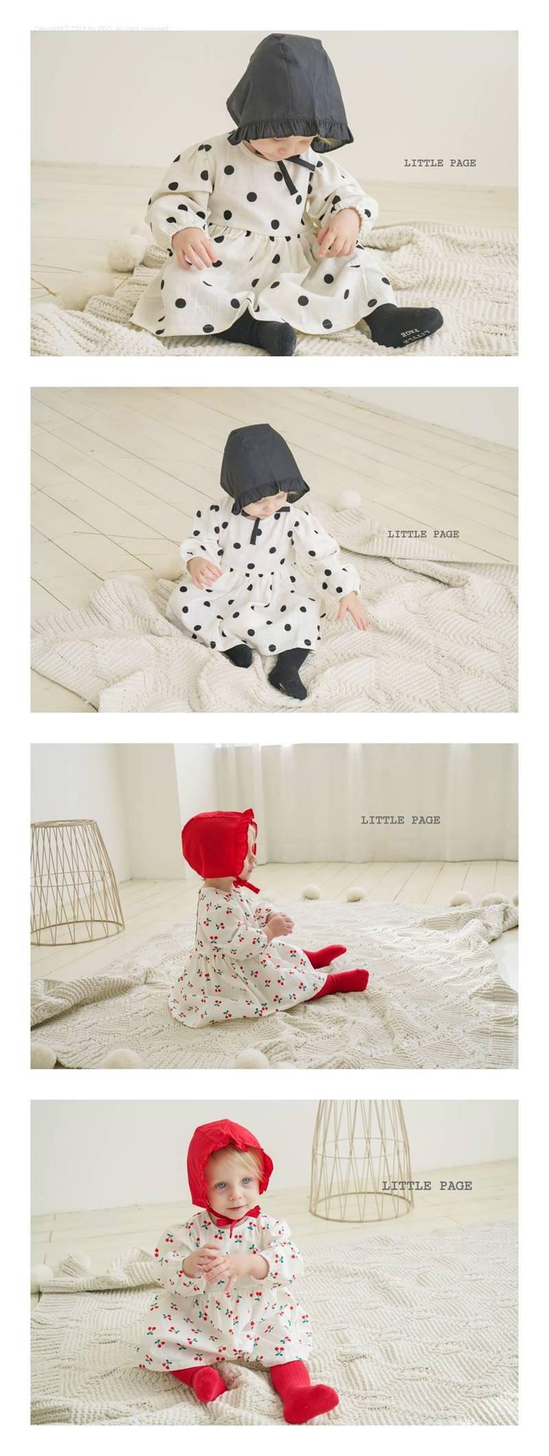 LITTLE PAGE - Korean Children Fashion - #Kfashion4kids - Baby One-piece with Bonnet