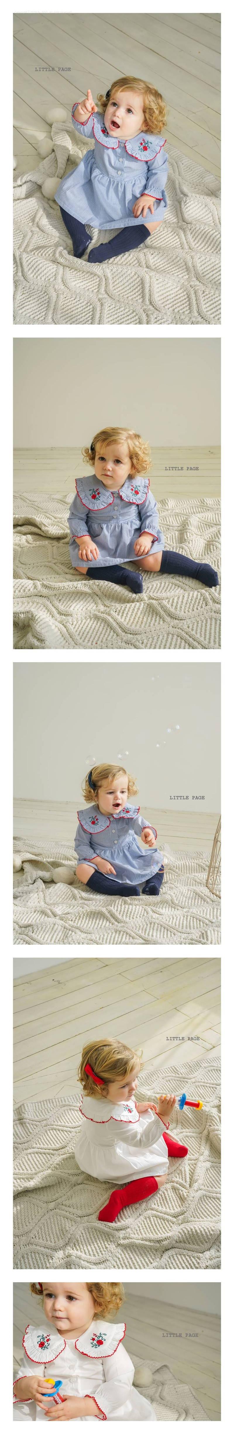 LITTLE PAGE - Korean Children Fashion - #Kfashion4kids - Rose Embroidery One-piece