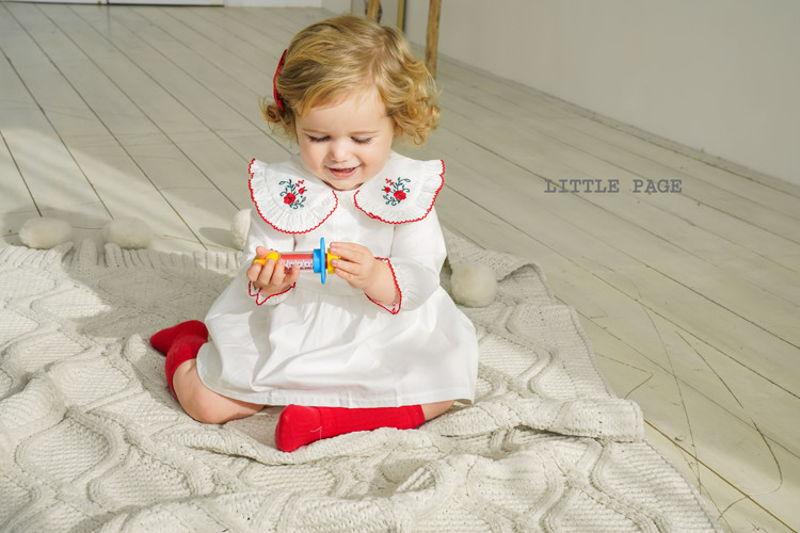 LITTLE PAGE - BRAND - Korean Children Fashion - #Kfashion4kids - Rose Embroidery One-piece