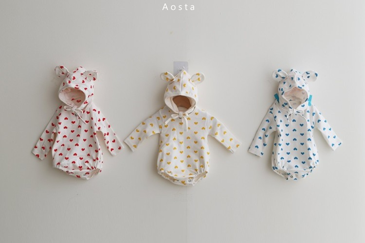 AOSTA - BRAND - Korean Children Fashion - #Kfashion4kids - Heart Bear Bodysuit with Bonnet