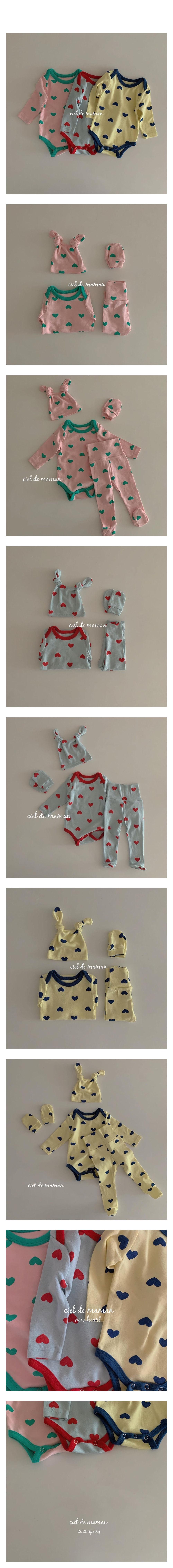 CIEL DE MAMAN - Korean Children Fashion - #Kfashion4kids - Spring Heart Bodysuit