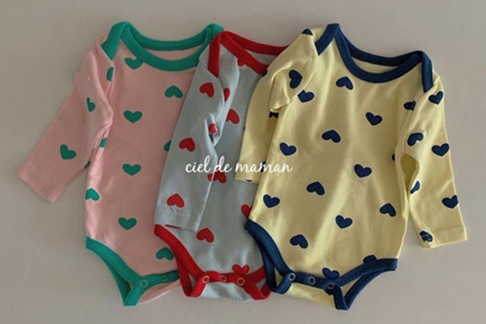 CIEL DE MAMAN - BRAND - Korean Children Fashion - #Kfashion4kids - Spring Heart Bodysuit