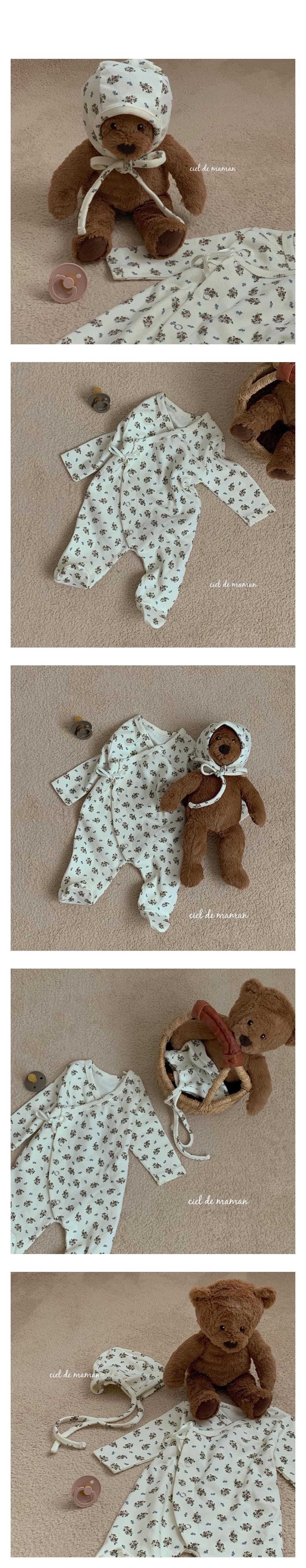 CIEL DE MAMAN - Korean Children Fashion - #Kfashion4kids - Pure Bodysuit with Bonnet