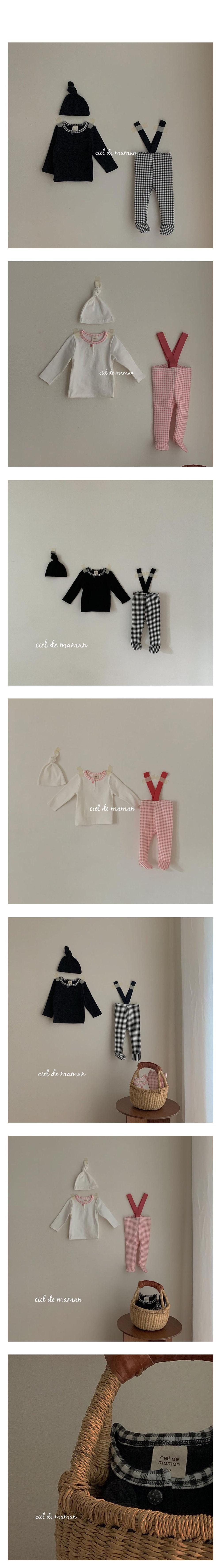 CIEL DE MAMAN - Korean Children Fashion - #Kfashion4kids - Check Suspender Leggings with Tee & Hat