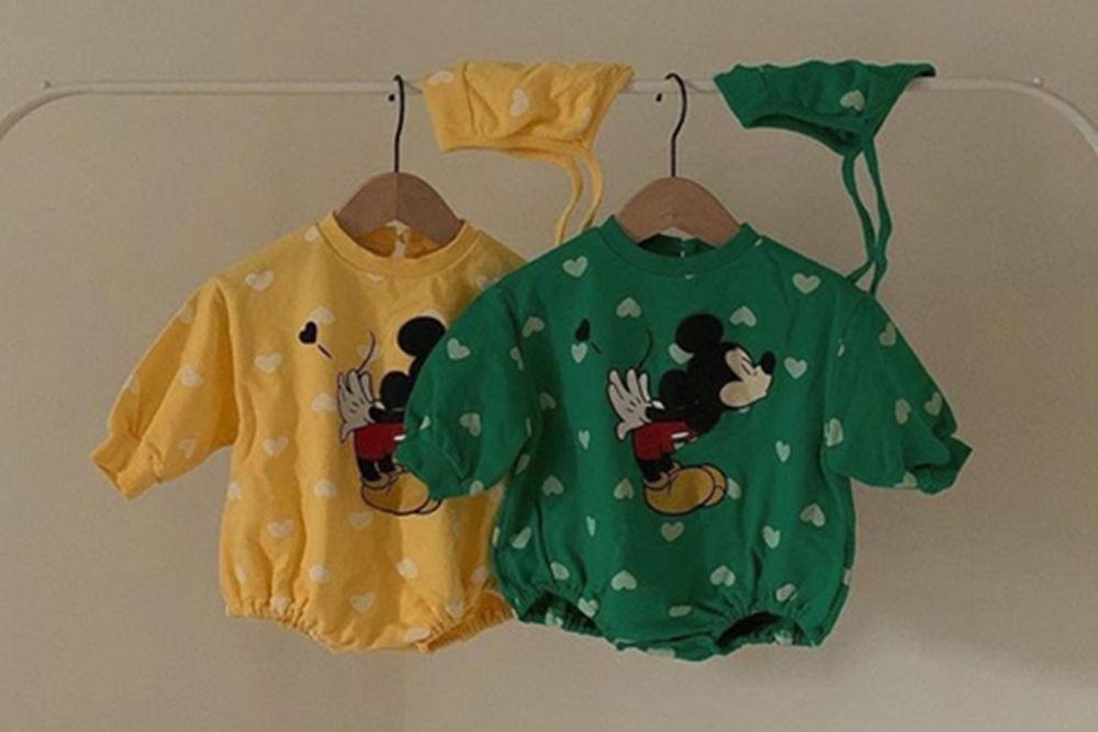 CIEL DE MAMAN - BRAND - Korean Children Fashion - #Kfashion4kids - Heart Mickey Bodysuit with Bonnet