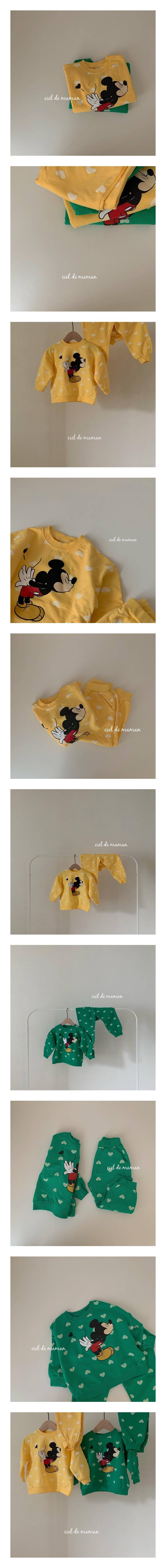 CIEL DE MAMAN - Korean Children Fashion - #Kfashion4kids - Heart Mickey Top Bottom Set