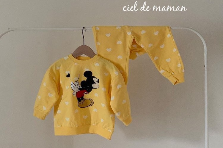 CIEL DE MAMAN - BRAND - Korean Children Fashion - #Kfashion4kids - Heart Mickey Top Bottom Set