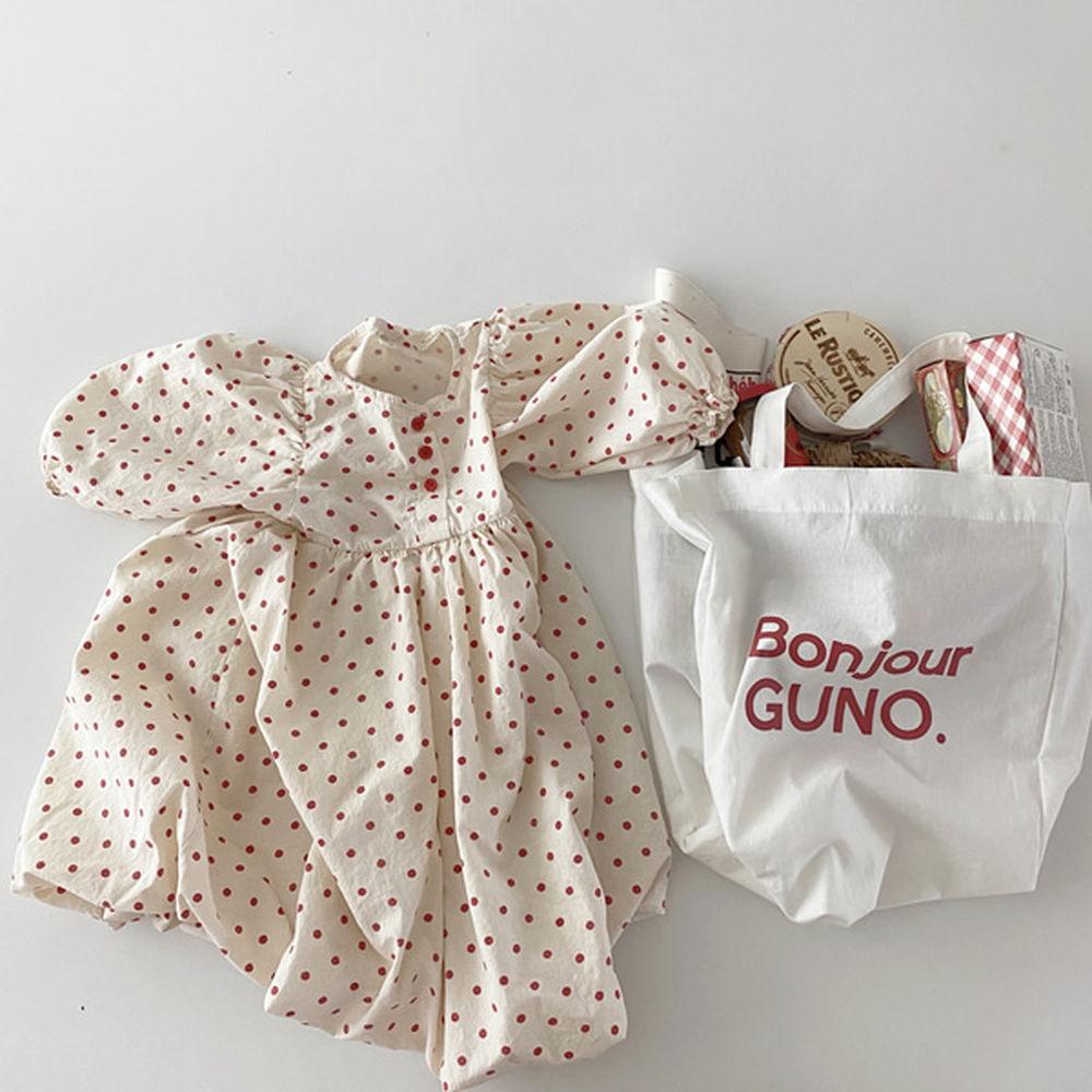 GUNO - BRAND - Korean Children Fashion - #Kfashion4kids - Pumpkin Dot One-piece