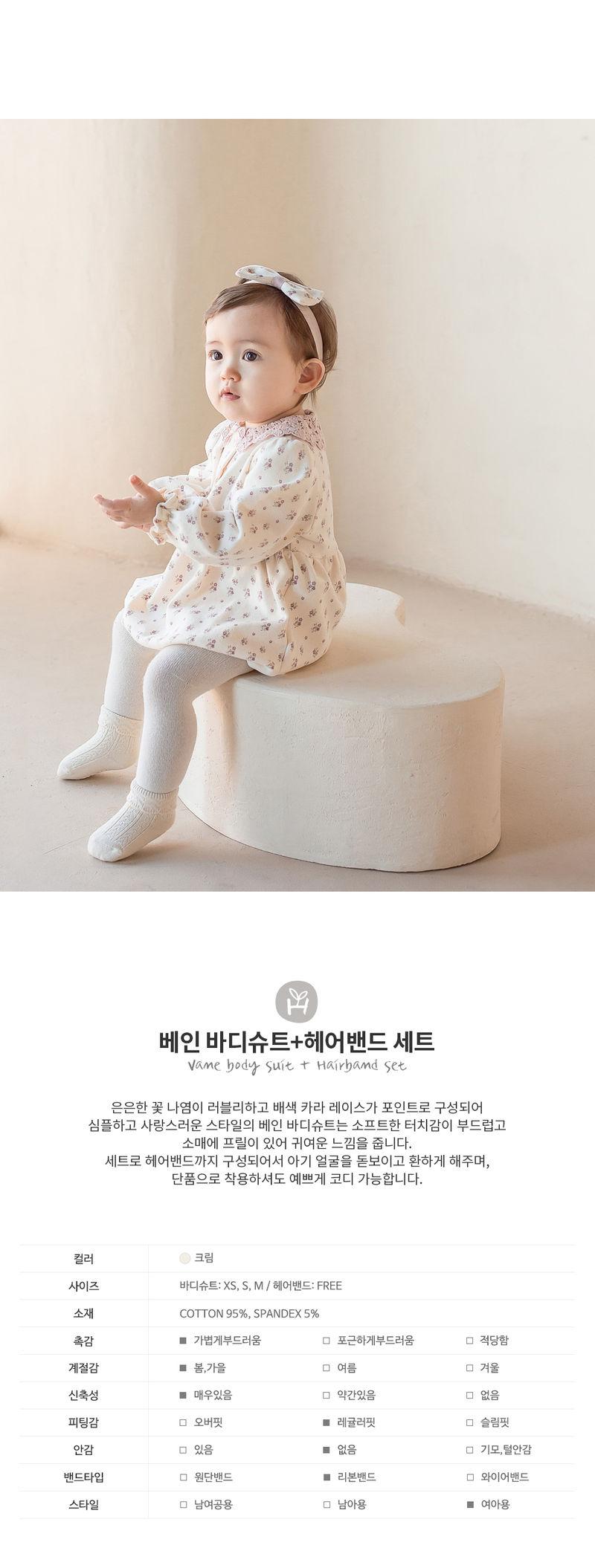 HAPPY PRINCE - Korean Children Fashion - #Kfashion4kids - Vane Body Suit + Hairband