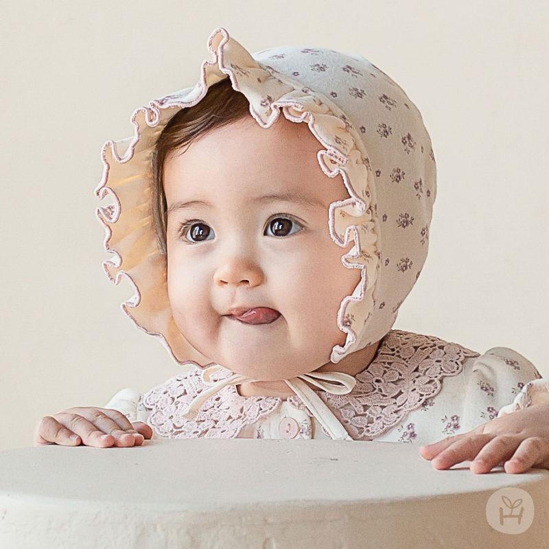 HAPPY PRINCE - BRAND - Korean Children Fashion - #Kfashion4kids - Vane Frill Baby Bonnet