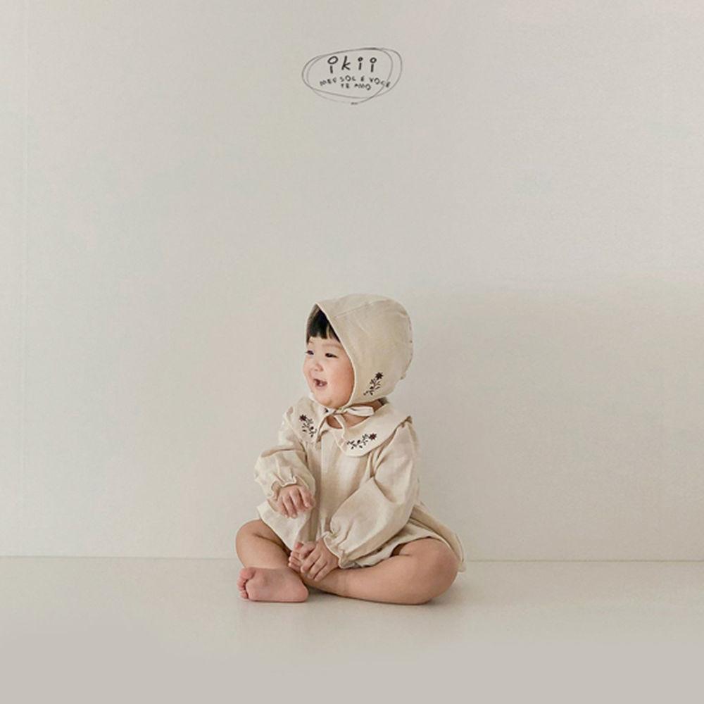IKII - Korean Children Fashion - #Kfashion4kids - Bebe Coco Collar Bodysuit with Bonnet