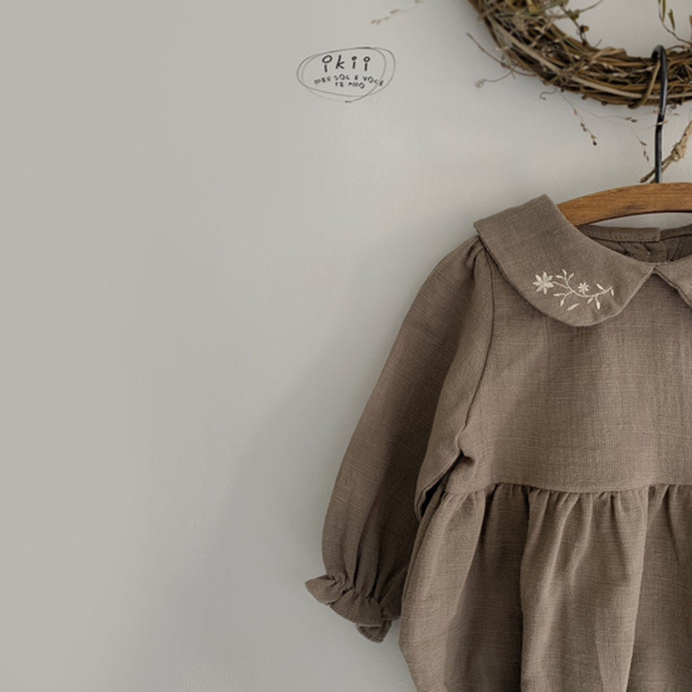 IKII - Korean Children Fashion - #Kfashion4kids - Bebe Coco Collar Bodysuit with Bonnet - 4