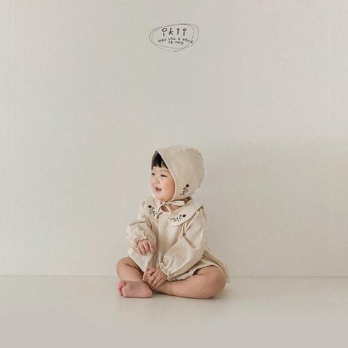 IKII - BRAND - Korean Children Fashion - #Kfashion4kids - Bebe Coco Collar Bodysuit with Bonnet