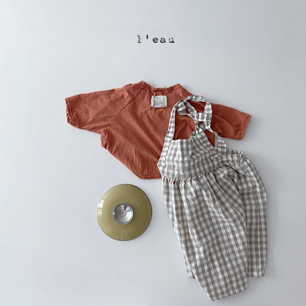 LEAU - Korean Children Fashion - #Kfashion4kids - Check String One-piece - 2