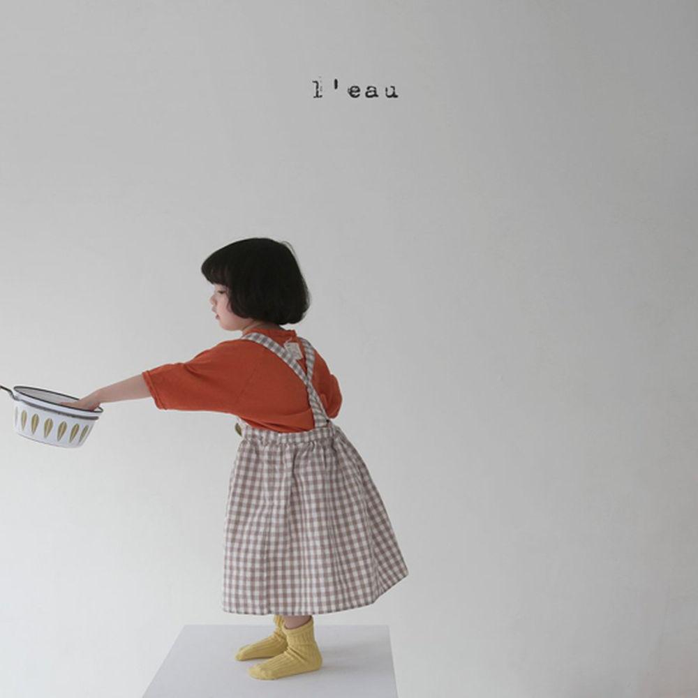 LEAU - Korean Children Fashion - #Kfashion4kids - Check String One-piece - 3