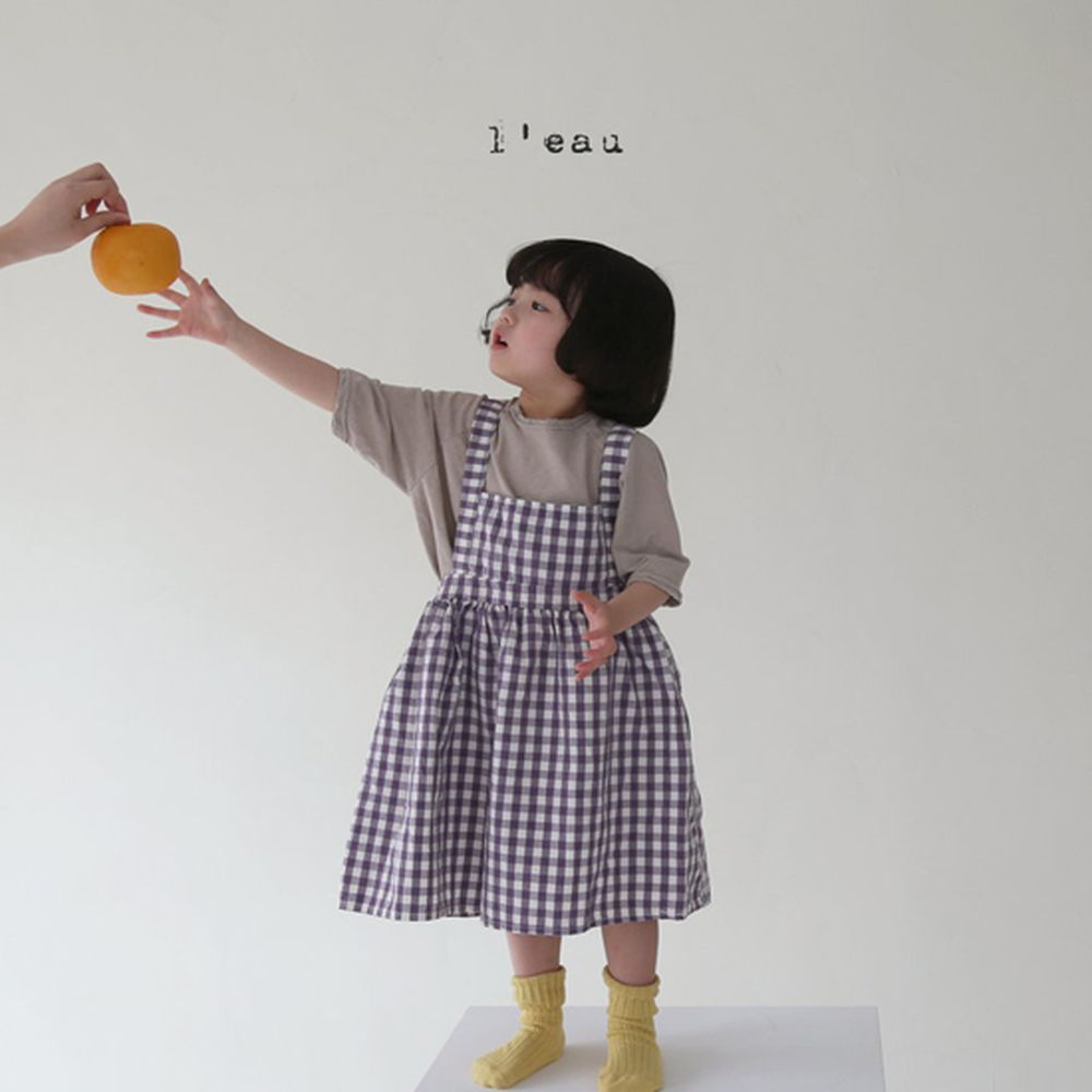 LEAU - Korean Children Fashion - #Kfashion4kids - Check String One-piece - 7
