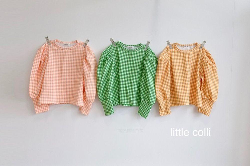 LITTLE COLLI - BRAND - Korean Children Fashion - #Kfashion4kids - Puff Check Tee