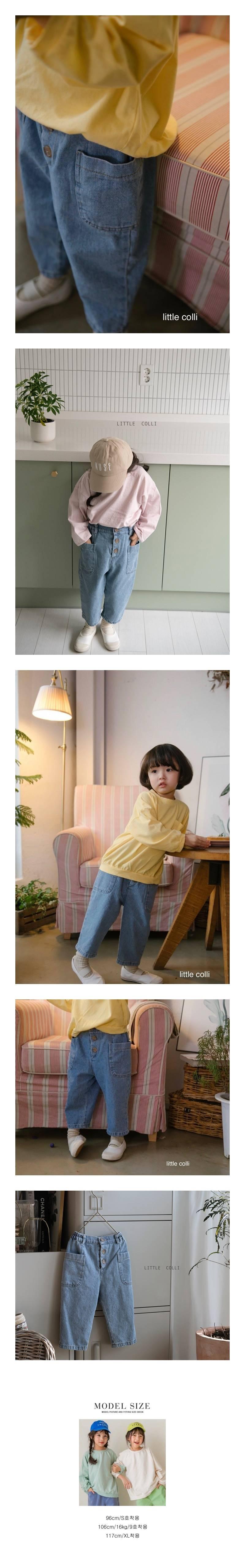 LITTLE COLLI - Korean Children Fashion - #Kfashion4kids - Button Denim Pants