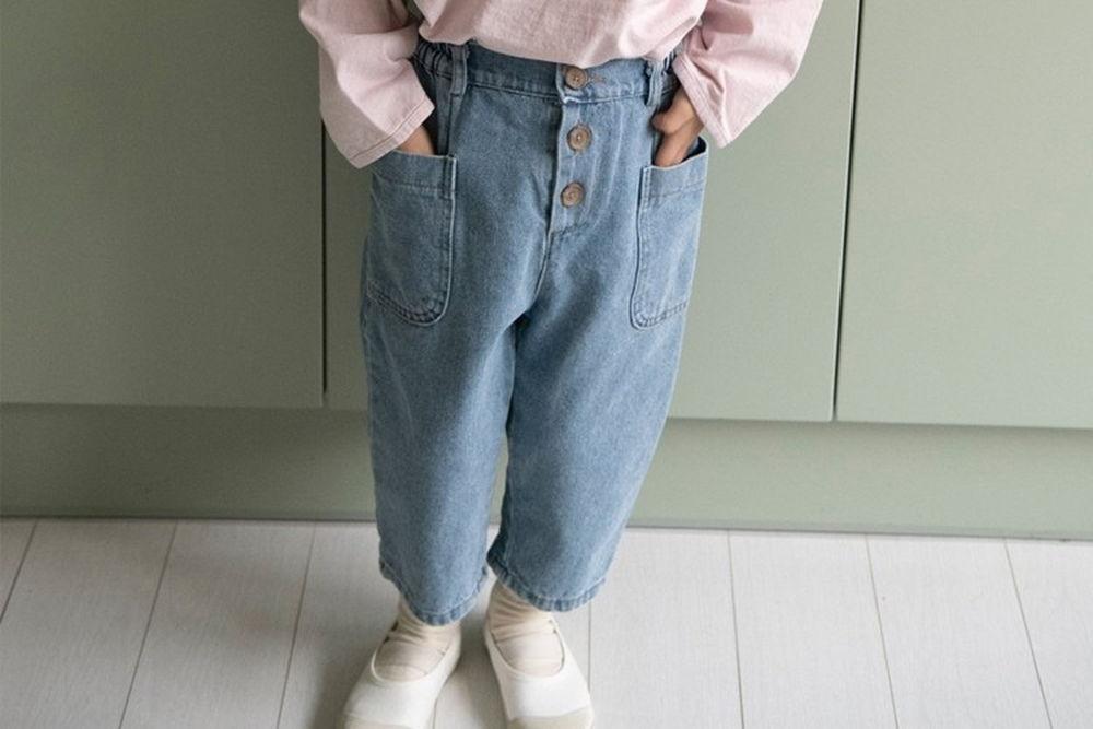LITTLE COLLI - BRAND - Korean Children Fashion - #Kfashion4kids - Button Denim Pants
