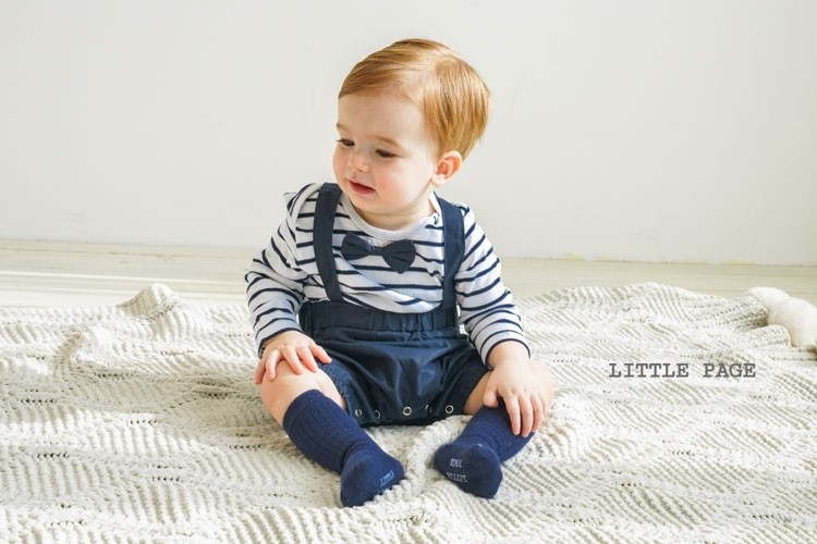 LITTLE PAGE - BRAND - Korean Children Fashion - #Kfashion4kids - Stripe Suspender Baby Boy Bodysuit