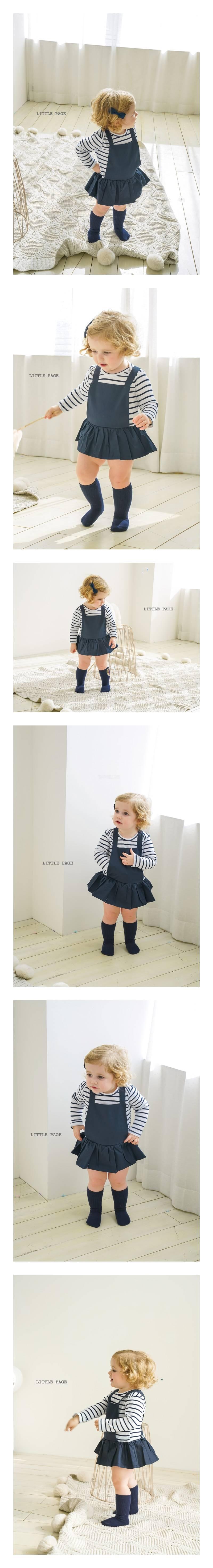 LITTLE PAGE - Korean Children Fashion - #Kfashion4kids - Stripe Suspender Baby Girl Bodysuit