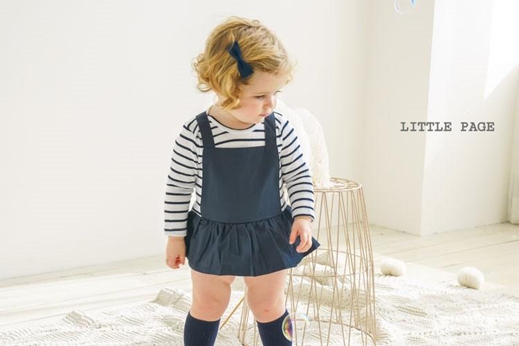 LITTLE PAGE - BRAND - Korean Children Fashion - #Kfashion4kids - Stripe Suspender Baby Girl Bodysuit