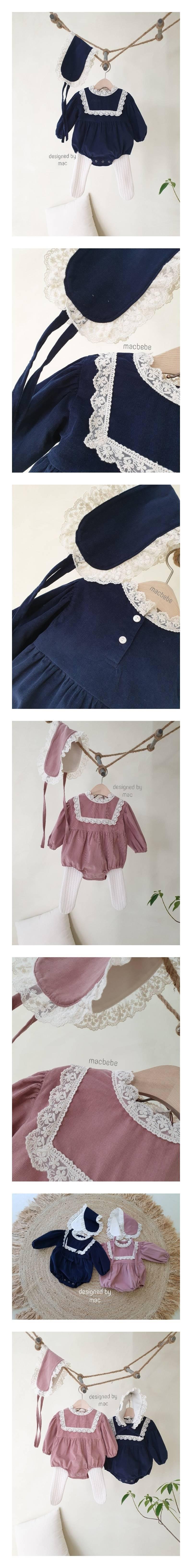 MAC - Korean Children Fashion - #Kfashion4kids - Little Princess Bodysuit with Bonnet