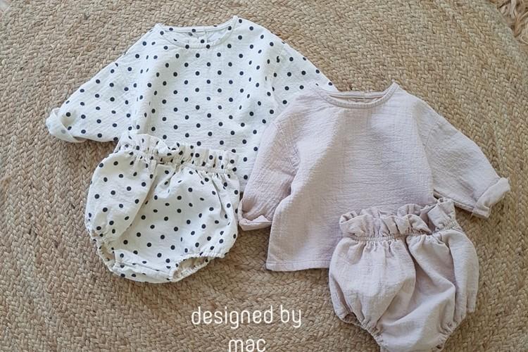 MAC - BRAND - Korean Children Fashion - #Kfashion4kids - Bebe Top Blommer Set