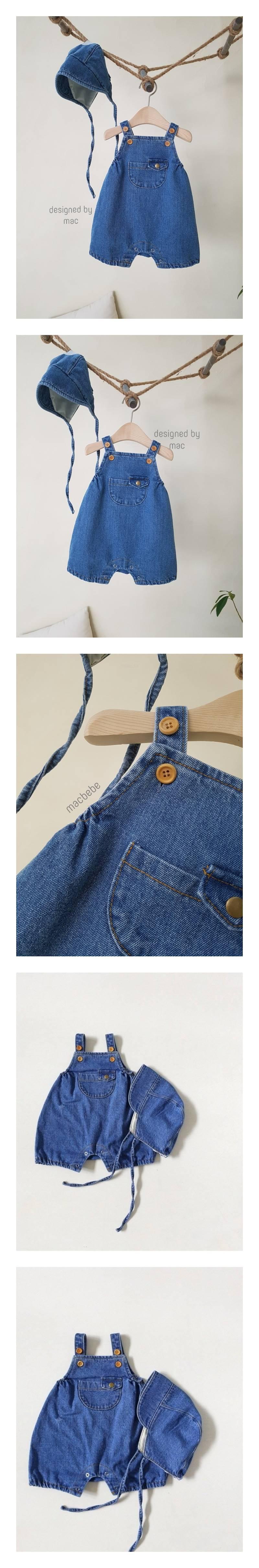 MAC - Korean Children Fashion - #Kfashion4kids - Denim Kangaroo Bodysuit with Bonnet