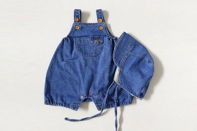 MAC - BRAND - Korean Children Fashion - #Kfashion4kids - Denim Kangaroo Bodysuit with Bonnet