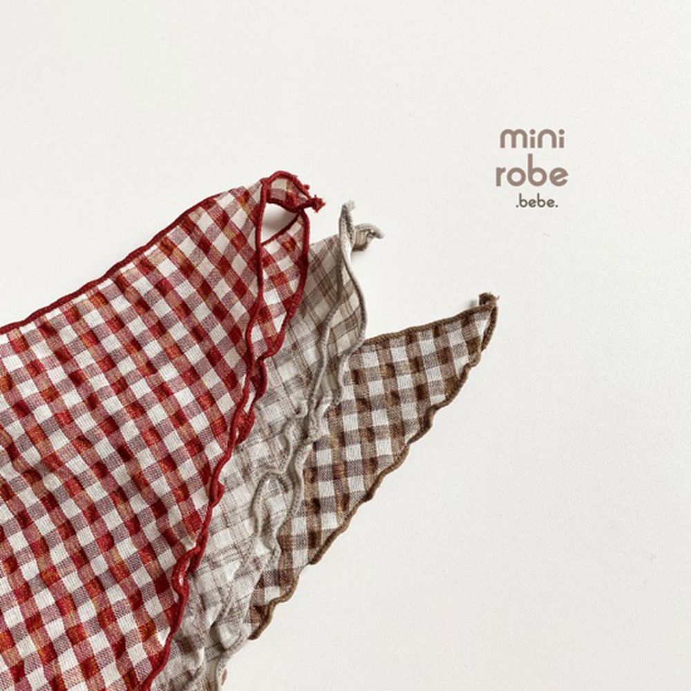 MINI ROBE - Korean Children Fashion - #Kfashion4kids - Check Linen Scarf