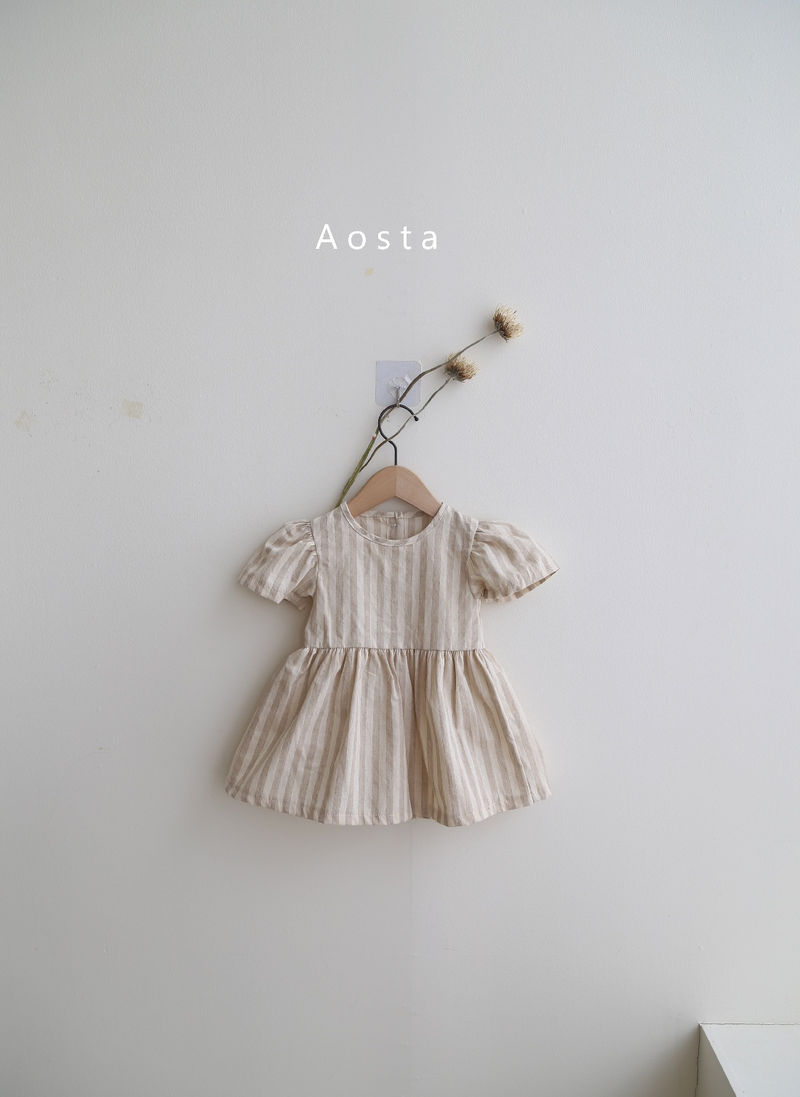 AOSTA - Korean Children Fashion - #Kfashion4kids - Linen Puff One-piece - 6