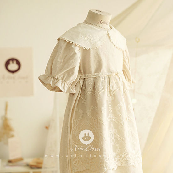 ARIM CLOSET - BRAND - Korean Children Fashion - #Kfashion4kids - Romantic Apron Lace One-piece
