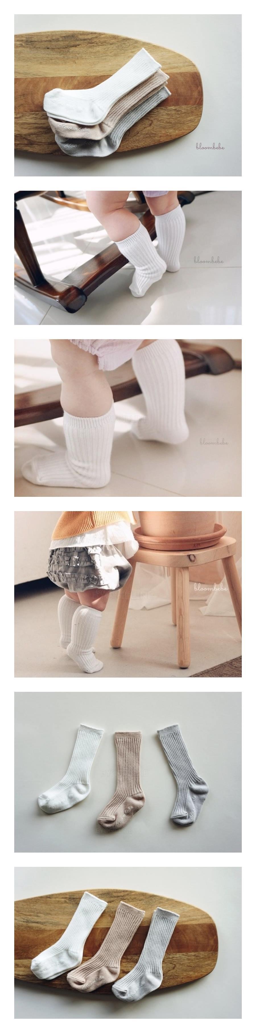 BLOOMBEBE - Korean Children Fashion - #Kfashion4kids - Simple Rib Knee Socks [set of 3]