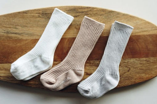 BLOOMBEBE - BRAND - Korean Children Fashion - #Kfashion4kids - Simple Rib Knee Socks [set of 3]