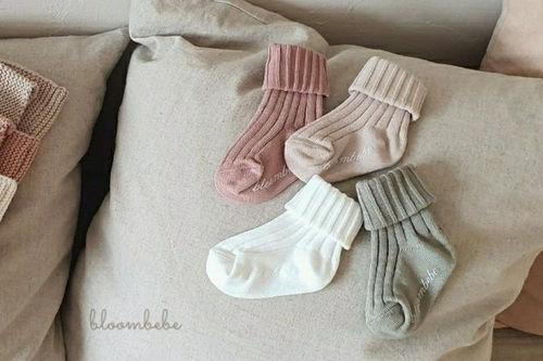 BLOOMBEBE - BRAND - Korean Children Fashion - #Kfashion4kids - Bebe Rib Knee Socks