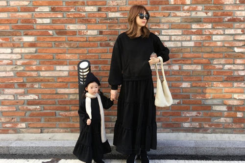 COUPLE - BRAND - Korean Children Fashion - #Kfashion4kids - Pocket Cancan Top Bottom Set with Mom
