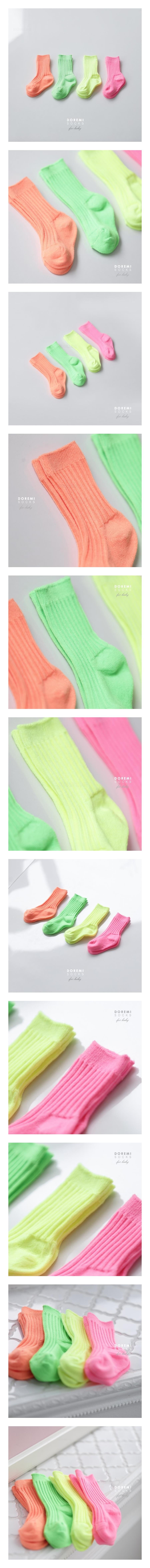 DOREMI SOCKS - Korean Children Fashion - #Kfashion4kids - Neon Rib Socks [set of 4]