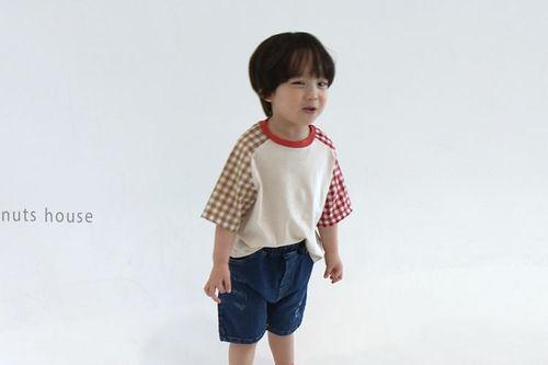 PEANUTS - BRAND - Korean Children Fashion - #Kfashion4kids - Check Tee