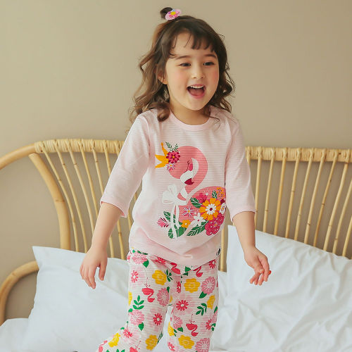 VOVO - BRAND - Korean Children Fashion - #Kfashion4kids - Ribbon Flamingo Easywear